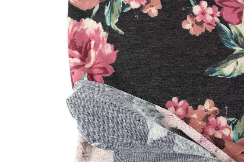 Heather Gray and Blush Floral Print Baby French Terry Knit Fabric by the yard FTK00793R