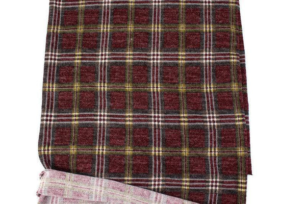 Dark Red Plaid Sweater Knit Fabric 24 inches length OSK01047