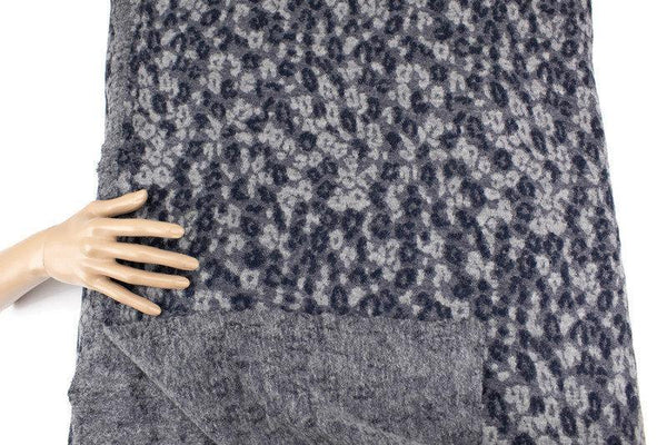 Heather Gray and Navy Floral Wool Cotton Blend Sweater Knit Designer Fabric Made in Italy by the yard OSK01061R