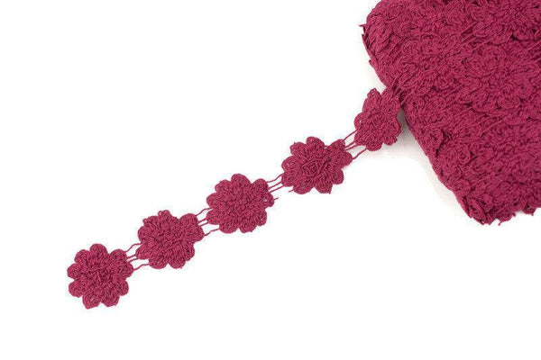 Burgundy Floral Cotton Cluny Lace Trim 3 yards NLT00399