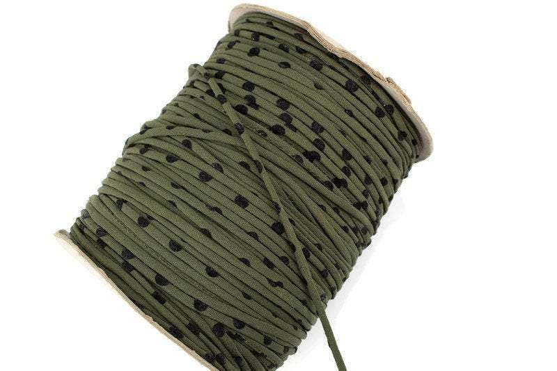 Olive Green and Black Polka Dot Crepe Woven Trim Spaghetti Straps Hollow Tube Tubular IMPERFECT 5 yards ATN01010