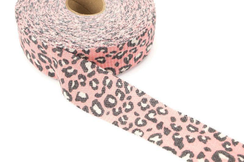 Pink Leopard Print Waffle Knit Bias Tape 1.75 inches width x 26 yards BST00182