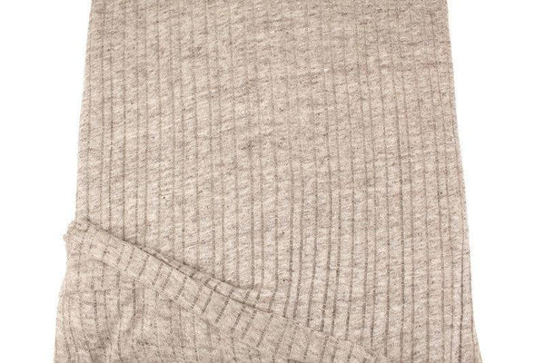 Heather Beige Linen Stripe Open Weave Sweater Knit Italian Designer Fabric by the yard OSK01051R
