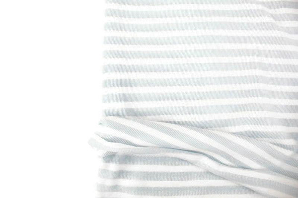 Light Muted Blue and White Stripe Sweater Knit Fabric by the yard OSK01052R