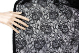 Black Floral Lace Fabric Designer Lace by the yard  LAC00002