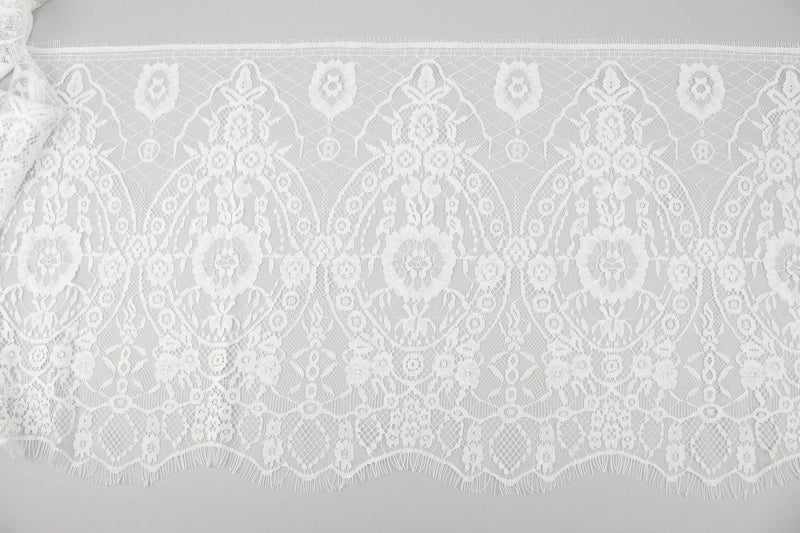 White Extra Wide Floral Lace Trim 13.75 inches width x 2 yards 30 inches length NLT00404
