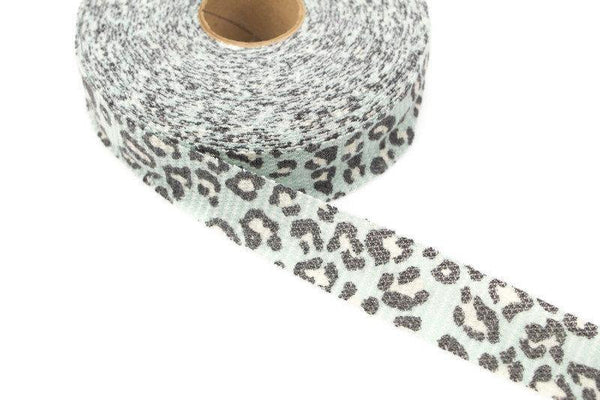 Light Blue Green Leopard Print Waffle Knit Bias Tape 1.75 inches width x 26 yards BST00179A