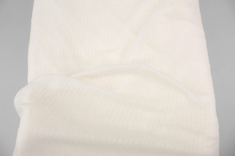 Off White Narrow Stripe Pointelle Knit Fabric 2.5 yards ATK00479