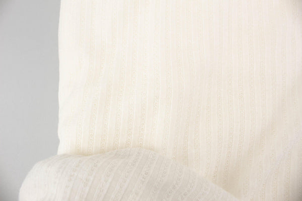 Off White Narrow Stripe Pointelle Knit Fabric by the yard ATK00479