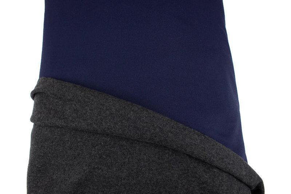 Dark Blue and Gray Wool Blend Double Face Sweater Knit Double Sided Reversible Knit Fabric by the yard OSK01073R - Felinus Fabrics