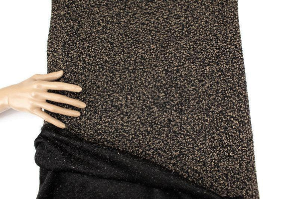 Beige and Black Boucle Fancy Open Weave Sweater Knit Fabric by the Yard OSK01074