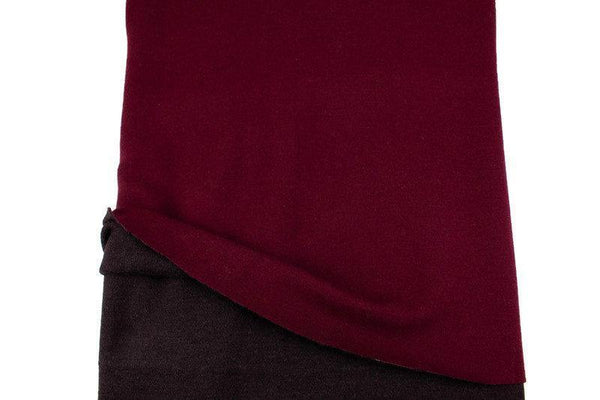 Maroon and Dark Brown Wool Cashmere Blend Double Face Sweater Knit Double Sided Reversible Knit Fabric 1.5 yards OSK01075B