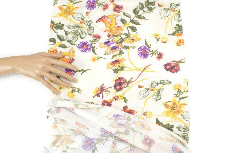 Purple and Yellow on Cream Floral Knit Jersey Fabric 2.5 yards PDK00695 - Felinus Fabrics