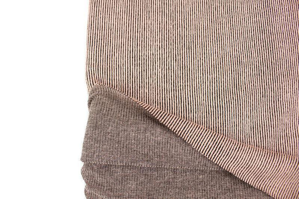 Peach Pink and Black Narrow Vertical Stripe Jacquard Knit Fabric by the yard STK00261R