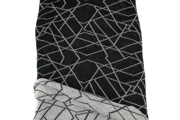 Black and Heather Pale Gray Geometric Lines Reversible Sweater Knit Fabric Designer Fabric by the yard OSK01064R