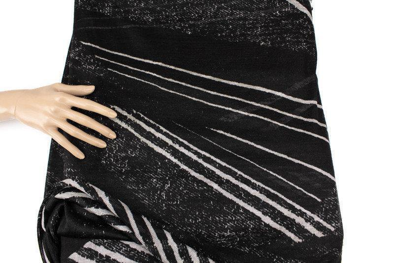 Black and Off White Graphic Lines Light Weight Open Weave Sweater Knit Fabric Designer Fabric by the yard OSK01065R