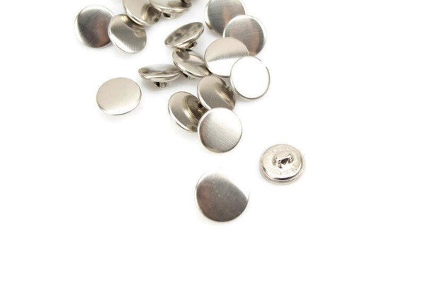 15mm Silver Flat Metal Button 5 Pieces BUT00067