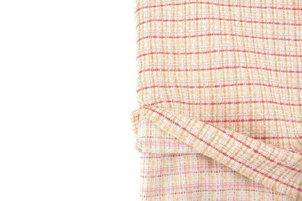 Pink Blush Beige and Cream Wool Plaid Tweed Woven Fabric by Designer Fabric 2 yards ATW00127