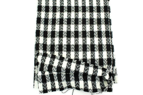 Black and Cream Wool Plaid Tweed Woven Fabric by Designer Fabric 1 yard ATW00128