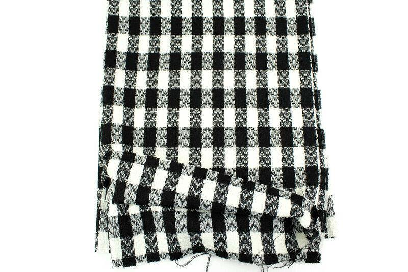 Black and Cream Wool Plaid Tweed Woven Fabric by Designer Fabric 1 yard - Felinus Fabrics