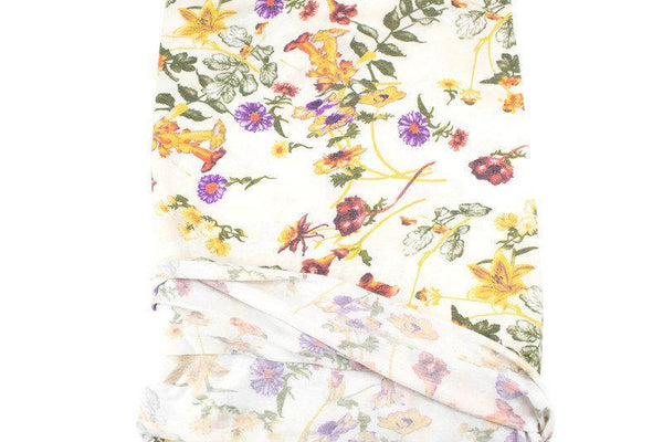 Purple and Yellow on Cream Floral Knit Jersey Fabric 2.5 yards PDK00695