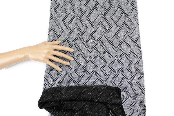 Heather Gray and Black Geometric Diamond Design Double Face Sweater Knit Fabric 42 inches length OSK01077 - Felinus Fabrics