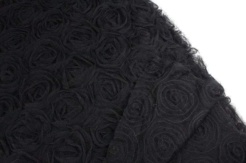 Black Rosette on Mesh Fabric 3D Flowers by the yard LMT00192R