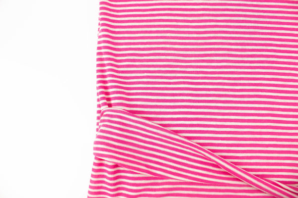 Dark Pink and Off White Narrow Stripe Speckled Knit Jersey Fabric by the yard STK00263R