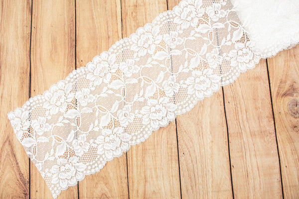 Off White Floral Wide Stretch Lace Trim 7.25 inches width x by the yard SLT00241