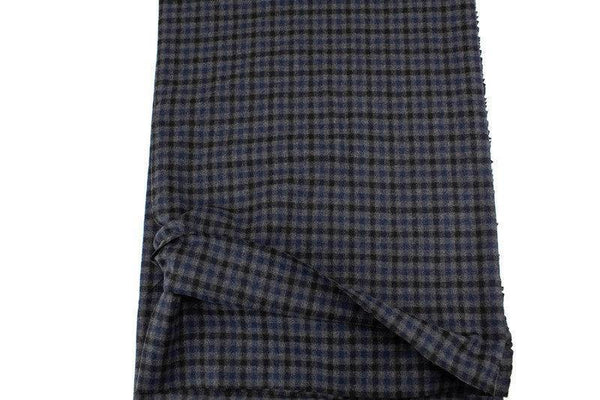 Dark Blue and Gray Plaid Wool Flannel Woven Fabric by Designer Fabric 40 inches length ATW00129