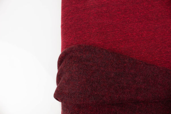Heather Dark Red Brushed French Terry Fleece Knit Fabric 3/4 yard FTK00815