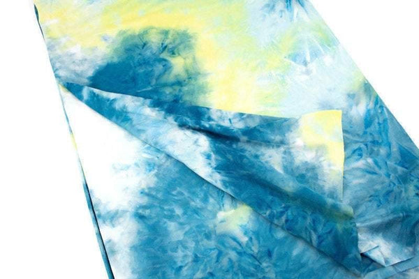 Blue and Yellow Tie Dye Brushed Poly Knit Fabric 1 yard PDK00698A