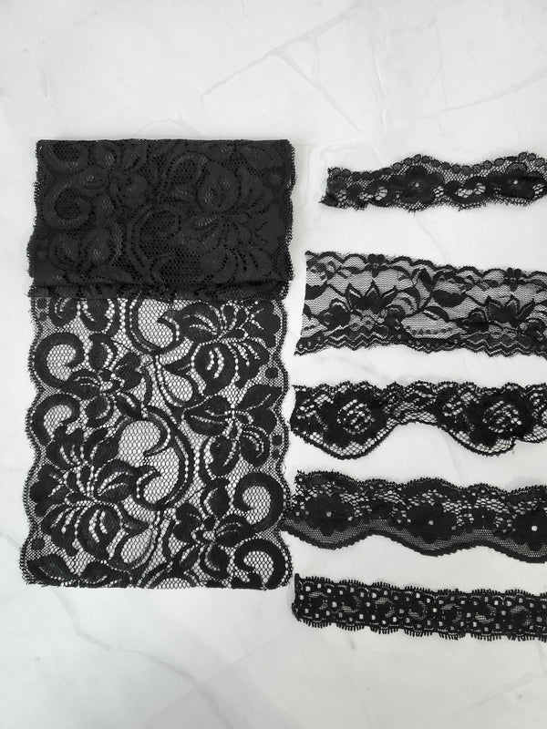 Black Stretch Lace Trim Scrap Pack Scrap Bundle 6 pieces of 1-2 yards each SPK00121