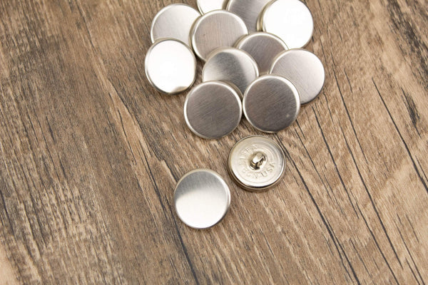 22mm Silver Flat Metal Buttons 10 Pieces  BUT000068
