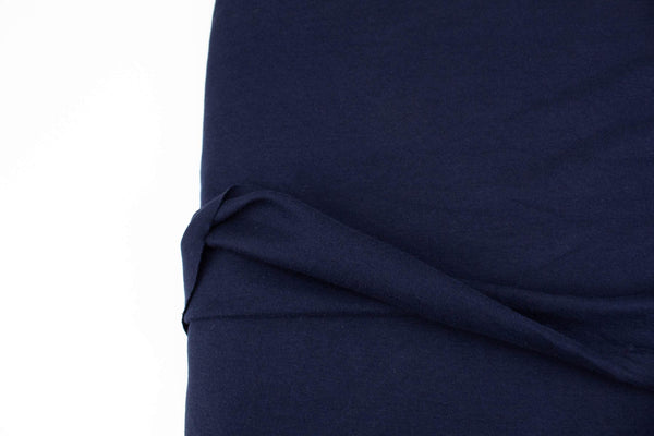 Navy Blue Fine Rib Knit Jersey Fabric by the yard ATK00488