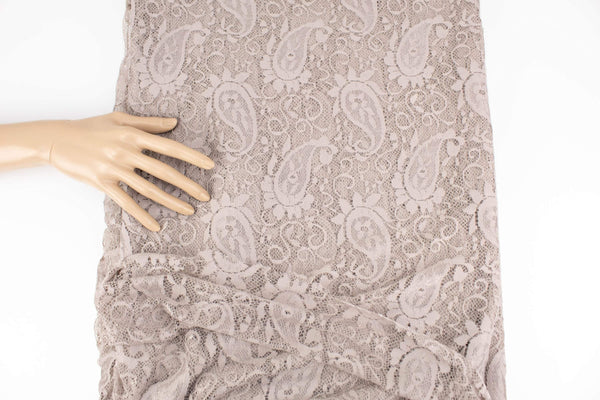 Beige Paisley Stretch Lace Fabric by the yard LMT00196