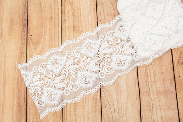 Off White and Metallic Silver Floral Wide Stretch Lace Trim 5.75 inches width x by the yard SLT00242