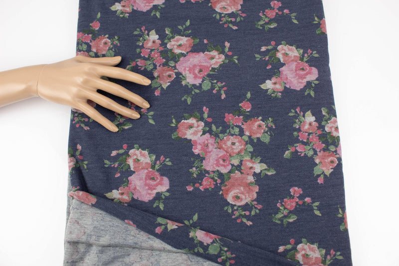 Heather Dark Blue and Blush Floral Baby French Terry Knit Fabric 2 yards 24 inches FTK00814