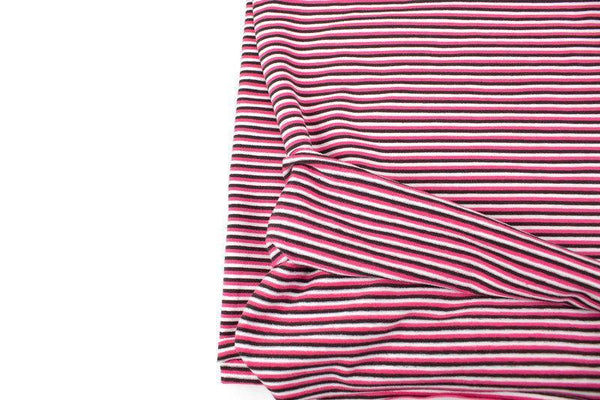 Pink Brown and Off White Narrow Stripe Knit Jersey Fabric 32 inches length STK00264A