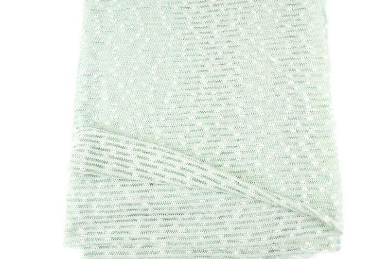 Pale Mint and Off White Narrow Stripe Open Weave Sweater Knit Fabric 1 yard OSK01085