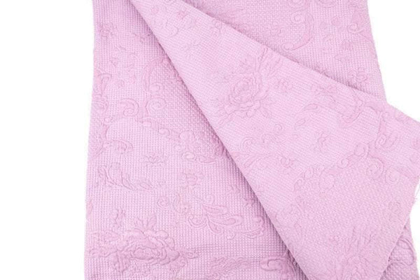 Pink Floral Quilt Blanket Like Embossed Brocade Cotton Woven Fabric 1 yard 25 inches length ATW00135