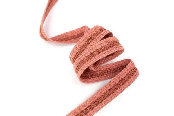 Coral Pink Cotton Metallic Center Fancy Woven Tape Trim Made in Italy by Victor Trim 13/16 inches width x 5 yards ATN01035