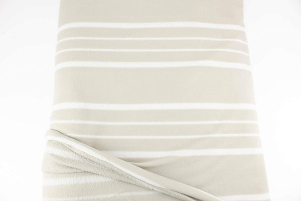 Stone and Off White Stripe Designer Fleece Made in Italy by the yard Extra Wide STK00265 - Felinus Fabrics