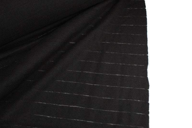 Black Fagoting Stripe Boiled Wool Fabric Designer Fabric Deadstock Fabric by the yard ATW00140R