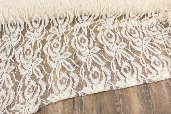 Ecru Floral Lace On Netting Fabric by the yard LAC00003R