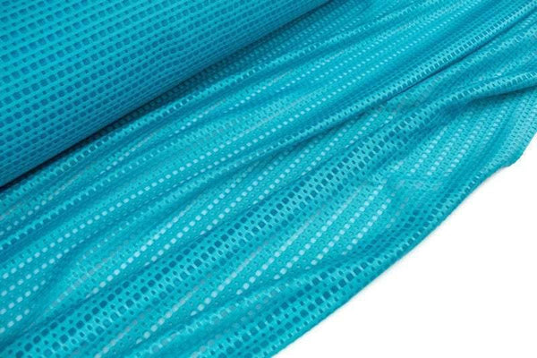 Deep Aqua Ponte Cut Out on Mesh Knit Fabric Athletic Yoga Sports Bra Knit Fabric by the yard ATK00494R