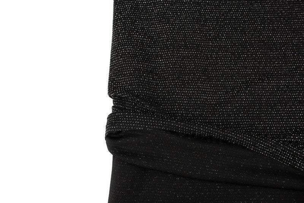 Black and Metallic Silver Lurex Light Weight Polyester Spandex Knit Fabric by the yard PDK00702