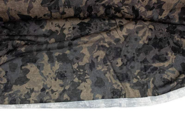 Brown and Olive Abstract Floral Camouflage Knit Fabric Designer Deadstock Fabric by the yard - Felinus Fabrics