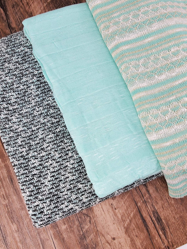 Mint Sweater Knit Fabric Variety Remnant Pack 3 pieces x 5 yards total SPK00138