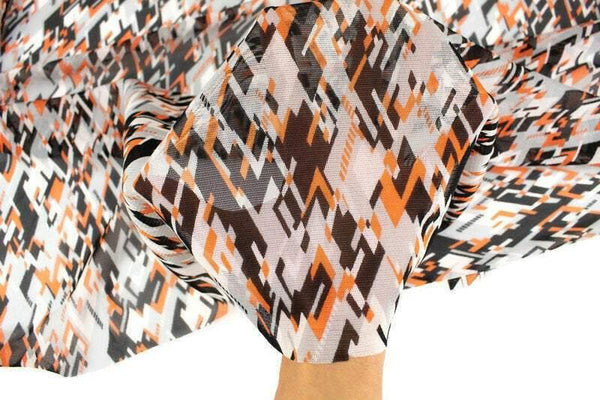 Black Orange and Gray Geometric Designs Stretch Mesh Fabric by the yard MNT00005R